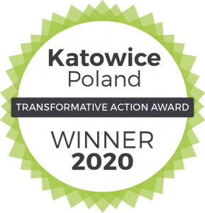 Logo zwycięzcy konkursu Transformative action award